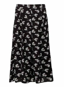 Womens *Izabel London Black Floral Print Midi Skirt- Black, Black