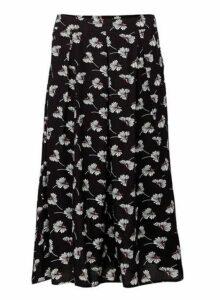 Womens *Izabel London Black Floral Print Midi Skirt- Black, Black