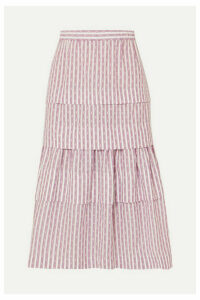 Anna Mason - Mademoiselle Tiered Striped Fil Coupé Skirt - Lilac