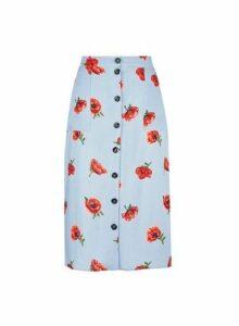 Womens Petite Blue Floral Print Skirt- Blue, Blue