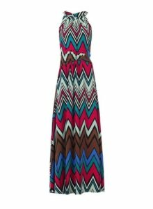 Womens *Jolie Moi Multi Colour Wave Printed Maxi Dress- Green, Green