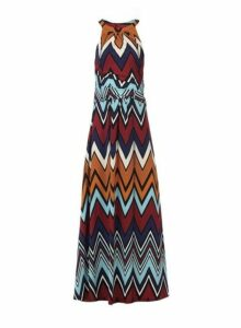 Womens *Jolie Moi Multi Colour Wave Printed Dress- Blue, Blue
