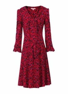 Womens *Jolie Moi Red Leopard Print Tie Front Skater Dress- Red, Red