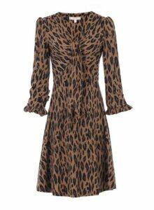 Womens *Jolie Moi Camel Leopard Print Tie Front Skater Dress- White, White