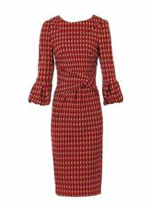 Womens *Jolie Moi Red Geometric Print Puff Sleeve Dress, Red