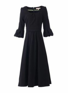 Womens *Jolie Moi Black Bell Sleeve Skater Midi Dress- Black, Black