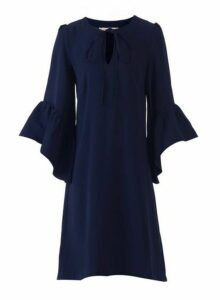 Womens *Jolie Moi Navy Flare Sleeved Shift Dress, Navy