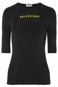 Balenciaga - Printed Textured Stretch-jersey Top - Black