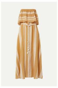 LemLem - + Net Sustain Derartu Strapless Striped Cotton-gauze Maxi Dress - Neutral