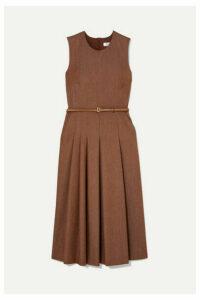 Max Mara - Belted Brushed Wool-twill Midi Dress - Beige