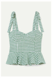 Reformation - Kassi Gingham Linen Peplum Top - Green