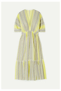 LemLem - Amira Tiered Striped Cotton-blend Gauze Midi Dress - Yellow