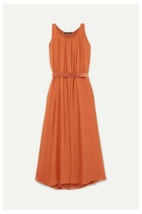 Max Mara - Manolo Pleated Silk-chiffon Maxi Dress - Orange