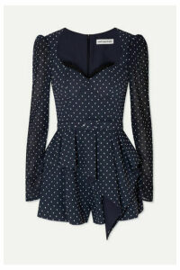 Self-Portrait - Belted Lace-trimmed Fil Coupé Crepe Playsuit - Navy