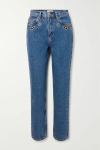 Acne Studios - Emest Face Appliquéd Striped Cotton-jersey Hoodie - Light denim