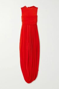 MICHAEL Michael Kors - Hayden Chain-embellished Pleated Georgette Dress - Royal blue