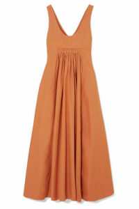 Three Graces London - Laurette Open-back Shirred Cotton-poplin Maxi Dress - Orange