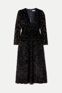 Self-Portrait - Metallic Flocked Chiffon Midi Dress - Black