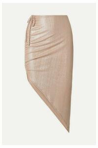 Adriana Degreas - Martini Asymmetric Ruched Ribbed Lamé Skirt - Metallic