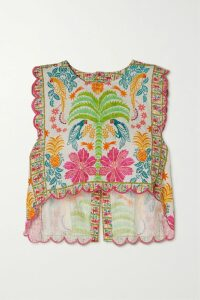Rebecca Vallance - Holliday Belted Polka-dot Linen-blend Skirt - Ivory