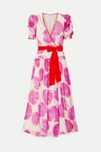 Diane von Furstenberg - Ruffled Printed Crinkled Silk-chiffon Wrap Maxi Dress - Pink