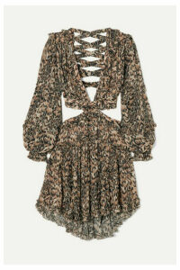 Zimmermann - Eyes On Summer Cutout Leopard-print Cotton And Silk-blend Chiffon Dress - Leopard print