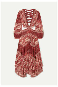Zimmermann - Eyes On Summer Cutout Printed Cotton And Silk-blend Chiffon Maxi Dress - Magenta