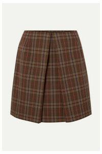 MM6 Maison Margiela - Pleated Checked Woven Mini Skirt - Brown