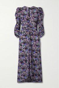 Dolce & Gabbana - Belted Floral-print Silk-georgette Midi Dress - Pink