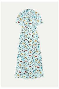 HVN - Long Maria Printed Silk Crepe De Chine Dress - Sky blue