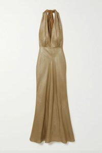 HVN - Nora Gingham Silk Crepe De Chine Mini Dress - Light blue