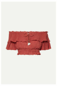 Zimmermann - Veneto Cropped Off-the-shoulder Crinkled Ramie And Cotton-blend Gauze Top - Brick