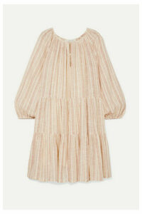 The Great - The Prairie Tiered Striped Cotton-gauze Mini Dress - Ecru