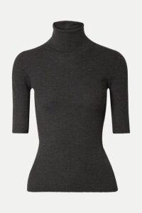 Theory - Leenda Ribbed Merino Wool Turtleneck Top - Black