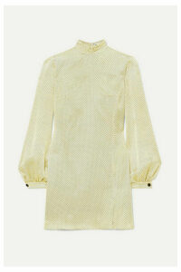 Raquel Diniz - Elle Polka-dot Silk-satin Mini Dress - Yellow