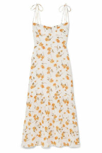 Reformation - Emmie Floral-print Georgette Midi Dress - Ecru