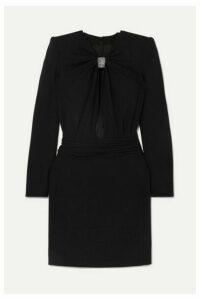 SAINT LAURENT - Embellished Cutout Cady Mini Dress - Black