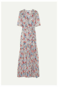 Veronica Beard - Mick Wrap-effect Ruched Floral-print Silk-voile Maxi Dress - Pink