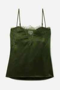 Cami NYC - The Sweetheart Lace-trimmed Silk-charmeuse Camisole - Army green