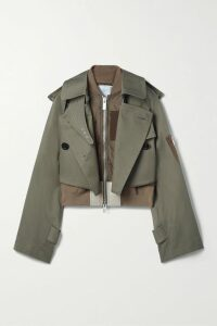 Lela Rose - Cold-shoulder Grosgrain-trimmed Ruffled Crepe Midi Dress - Navy