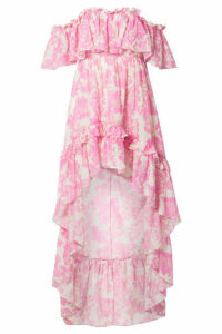LoveShackFancy - Alexia Asymmetric Ruffled Floral-print Cotton And Silk-blend Voile Dress - Pink
