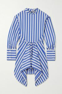 Miguelina - Clarice Crochet-trimmed Linen Wrap Skirt - Light blue
