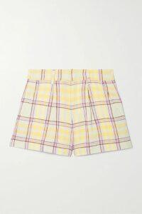 Miguelina - Summer One-shoulder Crochet-trimmed Linen Mini Dress - Pink