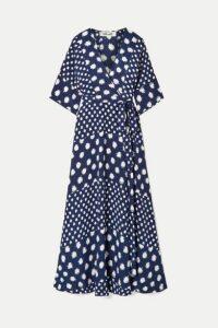 Diane von Furstenberg - Eloise Printed Silk-crepe Wrap Maxi Dress - Navy