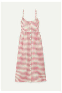 Mansur Gavriel - Gingham Linen Midi Dress - Antique rose