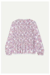 See By Chloé - Shirred Printed Crepe Top - Lilac