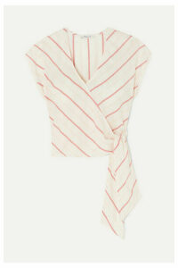 Madewell - Striped Cotton-voile Wrap Top - White