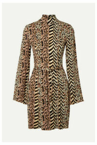 Nanushka - Yai Paneled Printed Crinkled-voile Mini Dress - Brown