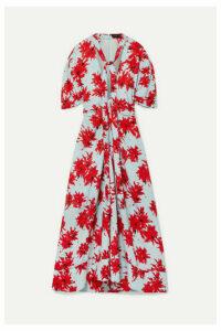 Proenza Schouler - Pussy-bow Floral-print Georgette Midi Dress - Sky blue