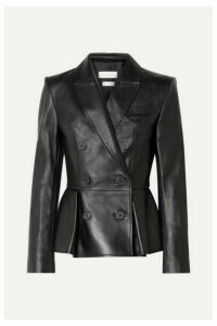Alexander McQueen - Double-breasted Pleated Leather Blazer - Black